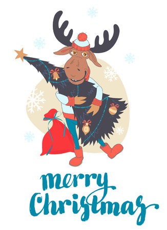 carry: Vector illustration Cute moose carry decorated Christmas tree Illustration