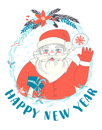 Vector Illustration Festive Funny Happy New Year Card With Santa ...