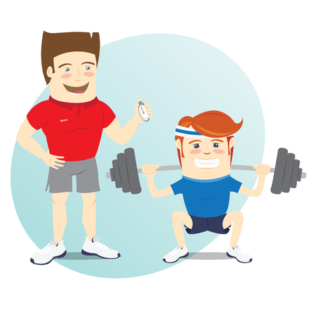 sportsmen: Vector illustration Fitness personal trainer and funny sportsman doing squats with barbell