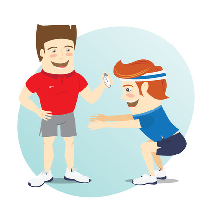 personal trainer: Vector illustration Fitness personal trainer and funny sportsman doing squats