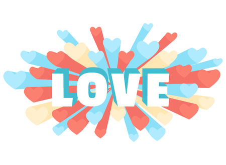 love blast: Vector illustration Romance heart spray LOVE greeting card or invitation Illustration