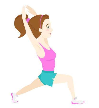 squat: Vector illustration Cute fitness woman doing warrior yoga pose, lunge