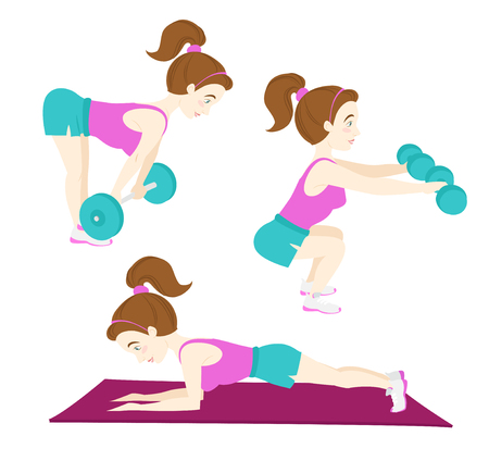 squat: Vector illustration  Set of Cute fitness woman exercising, deadlift with barbell, squat with dumbbel, plank pose on mat