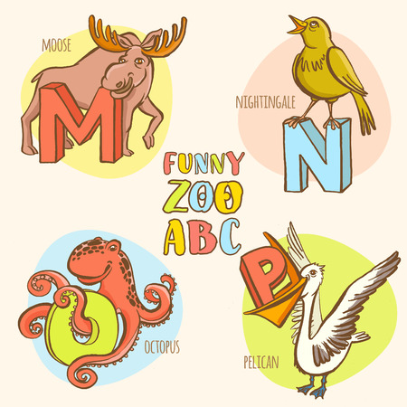 albatross: Vector illustration Funny zoo animals kids alphabet. Hand drawn ink colorful style. Letter M moose, N nightingale, O octopus, P pelican
