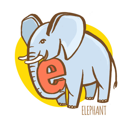 e ink: Vector illustration  Funny zoo animals kids alphabet. Hand drawn ink colorful style. Letter E, elephant