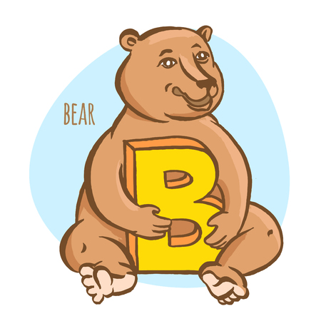 lettre alphabet: Vector illustration Funny zoo animals kids alphabet. Hand drawn ink colorful style. Letter B, bear