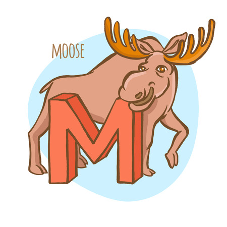 letter head: Vector illustration Funny zoo animals kids alphabet. Hand drawn ink colorful style. Letter M, moose Illustration