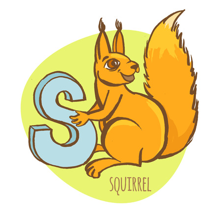 children s art: Vector illustration Funny zoo animals kids alphabet. Hand drawn ink colorful style. Letter S, squirrel Illustration