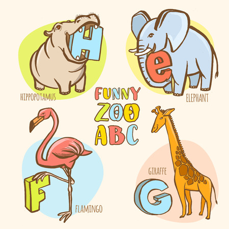g giraffe: Vector illustration Funny zoo animals kids alphabet. Hand drawn ink colorful style. Letter H hippopotamus, E elephant, F flamingo, G giraffe