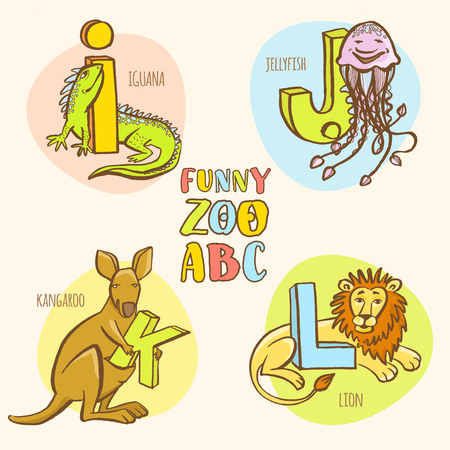 lion vector: Vector illustration  Funny zoo animals kids alphabet. Hand drawn ink colorful style. Letter I iguana, J jellyfish, K kangaroo, L lion