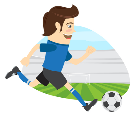 t shirt blue: illustration Funny soccer football player wearing blue t-shirt running kicking a ball and smiling on stadium