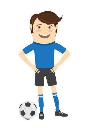blue smiling: illustration  Funny soccer football player wearing blue t-shirt standing with a ball and smiling Illustration