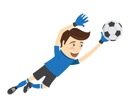 illustrazione calcio divertente calciatore portiere indossa blu salto t-shirt per la sfera