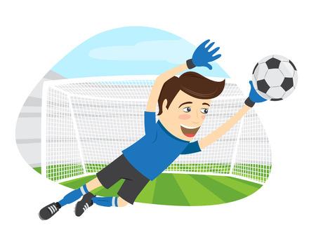 illustratie Grappige voetbal speler goalkeeper gekleed in een blauwe t-shirt springen voor bal