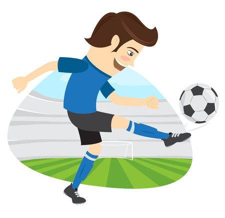 soccer field: illustration Funny soccer football player wearing blue t-shirt running kicking a ball and smiling on stadium