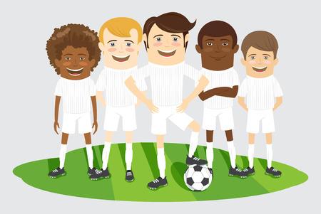 soccer team: Vector illustration Football or soccer team on the field with ball Illustration