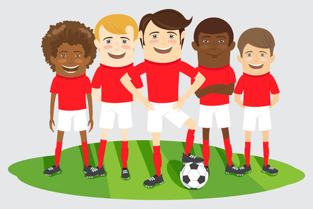 group of kids: Vector illustration Football or soccer team on the field with ball Illustration