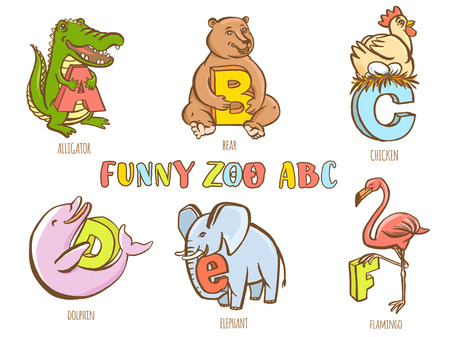fish animal: Vector illustration Funny zoo animals kids alphabet. Hand drawn ink colorful style. Letter C chicken, B bear, D dolphin, A alligator, E elephant, F flamingo