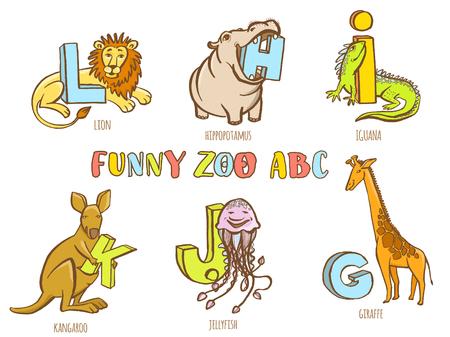 hipopotamo caricatura: Ilustraci�n del vector divertido de los animales del parque zool�gico del alfabeto del ni�o. Dibujado a mano colorido estilo de la tinta. Letra H hipop�tamos, jirafas G, I iguana, J medusas, K canguro, L le�n
