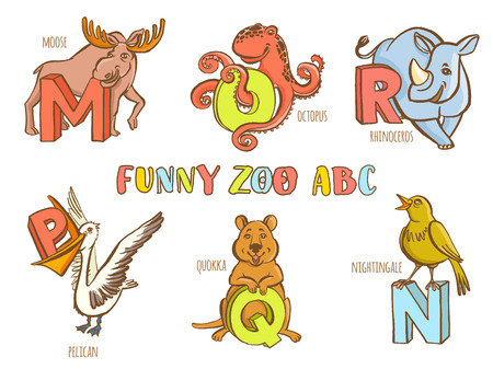 r p m: Vector illustration Funny zoo animals kids alphabet. Hand drawn ink colorful style. Letter M moose, N nightingale, O octopus, P pelican, Q quokka, R ronoceros