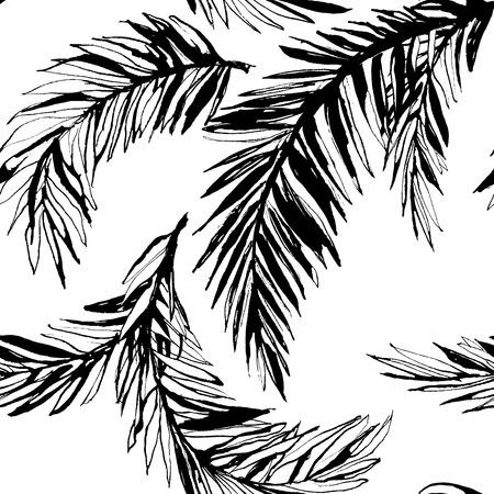 Ilustración del vector de la selva tropical de fondo floral sin patrón, con hojas de palma. En blanco y negro