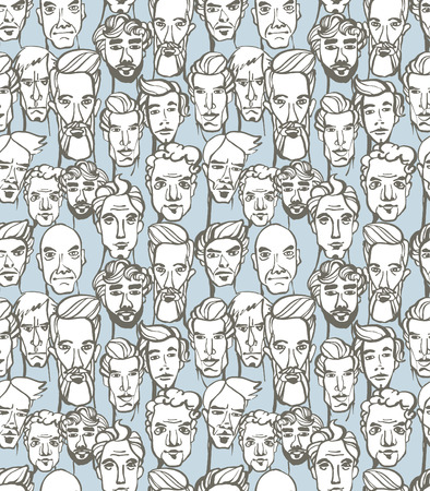 ink illustration: Vector illustration Seamless pattern of male doodle hand drawn portraits. Blue, gray and white Illustration