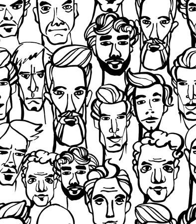 crowd happy people: Vector illustration Seamless pattern of male doodle hand drawn portraits. Black and white Illustration