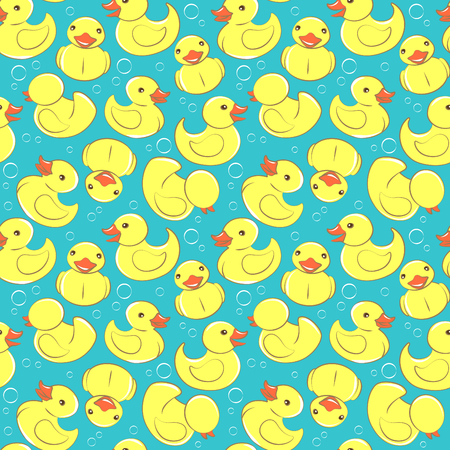 ilustración vectorial de goma amarillo pato y burbujas sin fisuras patrón de niños Ilustración de vector