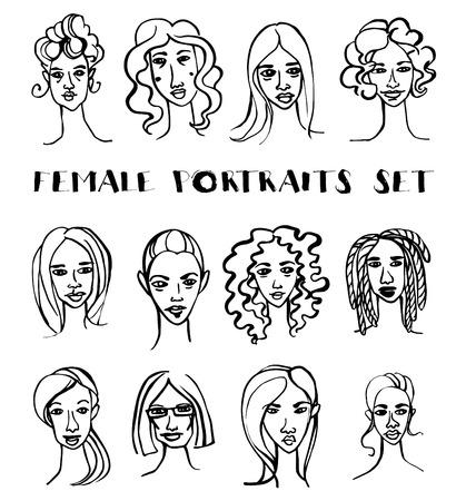 caricatura: ilustración vectorial conjunto de retratos dibujados mano del doodle femenino. En blanco y negro Vectores