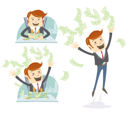 man holding money: illustrationHappy office man hipster throwing and holding  money at his desk Illustration