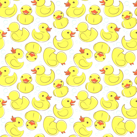 tweeter: Vector illustration Yellow rubber duck and bubbles seamless kids pattern Illustration