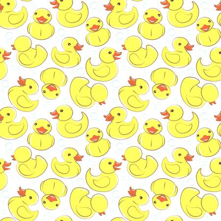 Vektor-Illustration Gelbe Gummi-Ente und Blasen nahtlose Kinder Muster