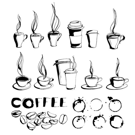 black bean: Vector illustration Grungy hand drawn ink coffee to go cups and mugs with steam, roasted beans and letterig set. Black and white