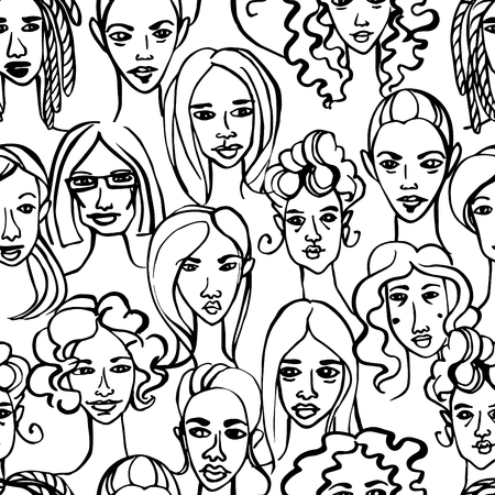 crowd happy people: Vector illustration Seamless pattern of female doodle hand drawn portraits.Black and white Illustration