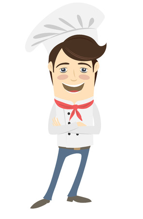 arms folded: Vector illustration Funny chef standing with his arms folded Illustration