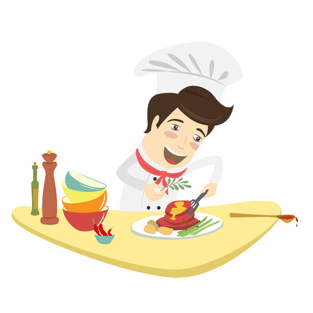 cooking chef: Vector illustration Funny chef cooking meat dish in the kitchen