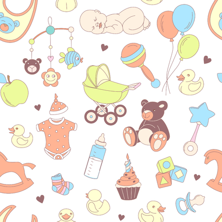 baby girl: Vector illustration Baby shower seamless pattern. Texture for baby girl and baby boy Illustration