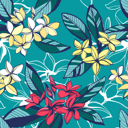 Vector illustration Tropical floral summer seamless pattern with plumeria flowers with leaves. Ink splatter grunge style.Texture, floral design, palm beach, tropical background, summer time, summer beach party