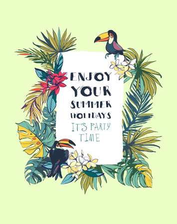 Vector illustration Tropical floral summer beach party invitation with palm beach leaves, tropical flowers and toucan birds. Colored ink splatter grunge style.Texture, floral design,tropical birds, tropical background, tropical flowers, summer party