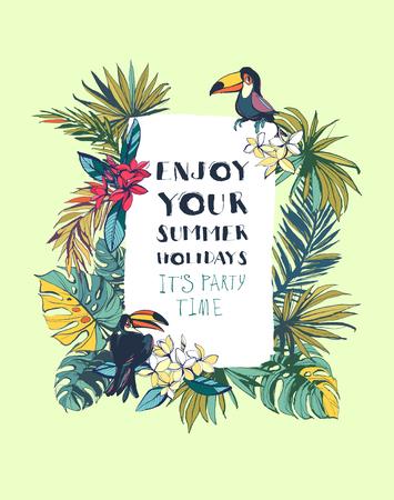 Vector illustratie Tropische bloemen zomer strand feest uitnodiging met palm strand bladeren, tropische bloemen en toucan vogels. Gekleurde inkt splattert grunge style.Texture, bloemenontwerp, tropische vogels, tropische achtergrond, tropische bloemen, zomerfeest Stock Illustratie