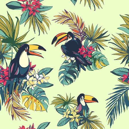 Illustrazione vettoriale Tropical seamless estate floreale con foglie palm beach, plumeria fiori e uccelli tucano. Inchiostro colorato splatter grunge style.Texture, disegno floreale, uccelli tropicali, sfondo tropicale, estate, festa d'estate