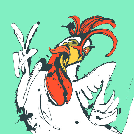 cock hand: Vector illustration Funny hand drawn cock showing victory sign and winking.Cock, rooster sketch,cock drawing,cock design,cock vector,cartoon cock,cock sketch,cock art,cock line,cock graphic,cock illustration