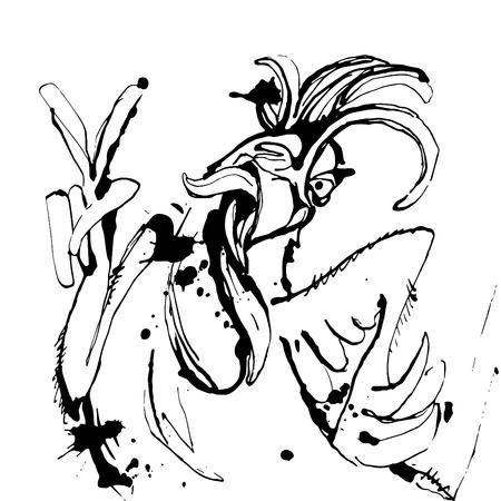 Vektor-Illustration Lustige Hand gezeichnet Hahn mit Victory-Zeichen und zwinkert. Skizze Zeichnung Karikatur Hahn