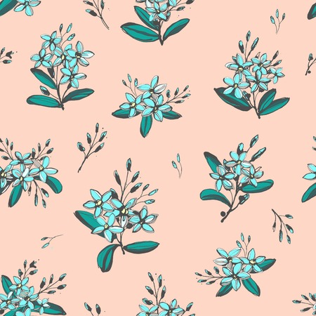forget me not: Vector illustration Forget-me-not blue flowers bouquets seamless hand drawn pattern
