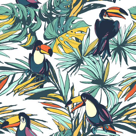 Vector illustration Tropical floral summer seamless pattern with palm beach leaves and toucan birds.