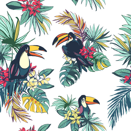 tropical: Vector illustration Tropical floral summer seamless pattern with palm beach leaves, tropical flowers and toucan birds.