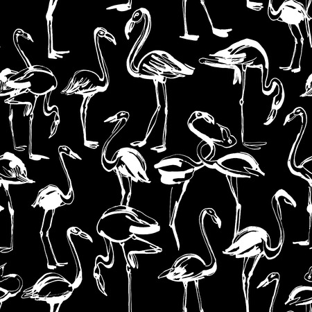 exotic birds: Vector illustration  Tropical exotic birds flamingos summer seamless pattern. Black and white inversion Illustration