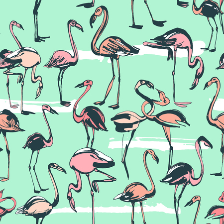 exotic birds: Vector illustration  Tropical exotic birds flamingos summer seamless pattern. Pink and mint