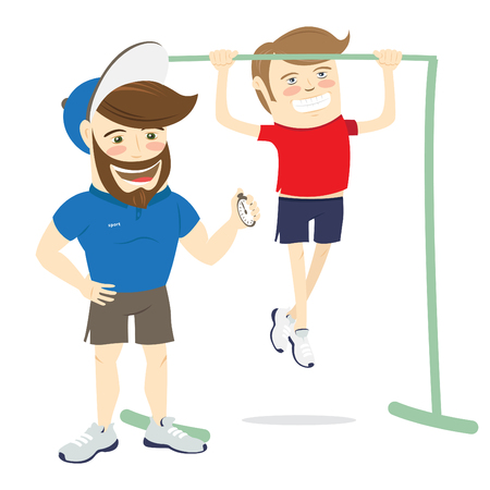 personal trainer: Vector illustration Bearded fitness personal trainer instructor and funny sportsman doing pull-ups exercises on horizontal bar Illustration