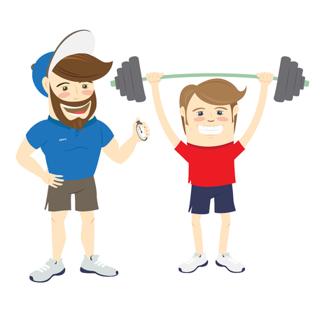 Ilustración del vector de la aptitud barbudo instructor entrenador personal y deportista divertido haciendo el levantamiento de ejercicios de barra Vectores